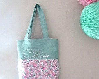 Child tote bag personalized Liberty betsy amelie celadon name linen