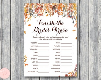 Fall Autumn Finish the Bride's phrase game, Complete the phrase , Bridal shower game, Bridal shower activity, Printable Game WD84 TH47