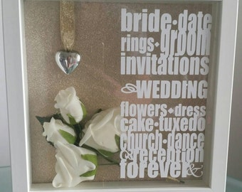 Personalised 3d wedding present box frame with flowers inside.