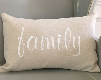 Embroidered Family Lumbar Size Pillow Canvas Fabric house warming gift