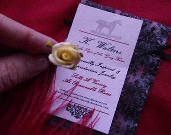 HA-0072 - Paper Hair Flower Bobby Pin - Yellow Roses - Georgian Hair Flower, Hair Sprig, Ballet Hair Flowers, Regency Hair Decoration