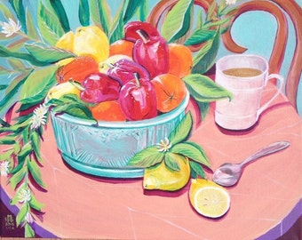 """FRESH PICKED MORNING is a bright, cheerful, happy acrylic painting 16""""x20"""" on primed canvas."""