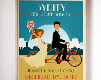 Tandem Bike Wedding Poster Personalized Wedding Gift Engagement Gift  Tandem Bike Newlywed Gift Romantic Gift Tandem Bicycle Art Bicycle Art