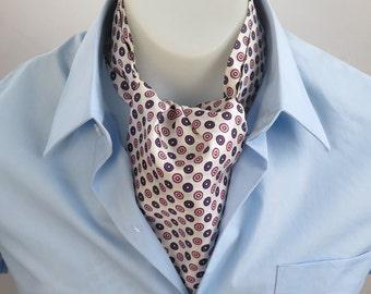 Vintage 1960s Cravat // Ascot Tie White Pink Purple