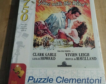 Gone With the Wind 750 pc Puzzle Made in Italy Vintage Movies Sealed