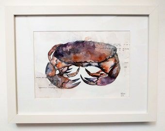 A4 Watercolour Crab Seaside Painting Artwork (Framed)
