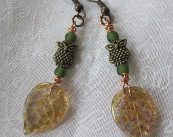 Owl and Leaf earrings