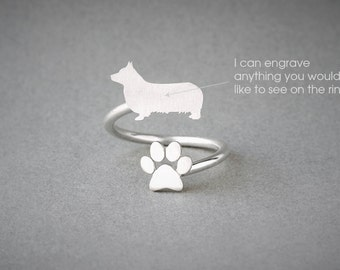 Adjustable Spiral PEMBROKE WELSH CORGI  and Paw Ring / Pembroke Welsh Corgi Ring / Paw Ring /Dog Ring / Silver, Gold Plated or Rose Plated.