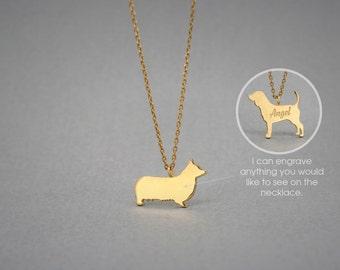 14K Solid GOLD Tiny PEMBROKE Welsh CORGI Name Necklace - Corgi Necklace -Gold Dog Necklace - 14K Gold or Rose Plated on 14k Gold Necklace