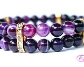 Beautiful Bright Purple Stripe Agate Elastic Bracelet 2 in 1 Christmas Birthday Gift Gemstone Beaded Bracelet