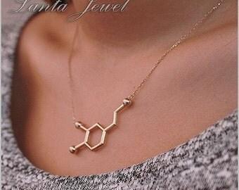 Dopamine molecule necklace, 925k solid sterling silver Dopamine necklace 14k yellow gold plated dopamine necklace