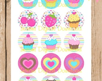 Cupcake Cutie.  1 inch Bottlecap Images.  Instant Download.  4 x 6 Inches.