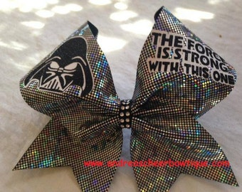Darth Vader Cheer Bow - The Force is Strong With This One Cheer Bow - Star Wars Cheer bow
