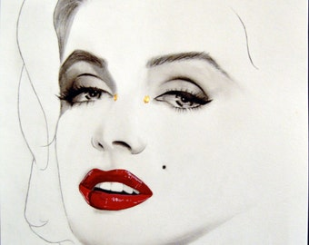 ORIGINAL - Marilyn Monroe Portrait Drawing
