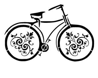 """8.3/11.7 """" vintage bicycle stencil 3. A4"""