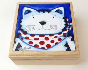 Cat Jewellery Box. Trinket Box. Keepsake Box. Jewellery Box. Whimsical art.