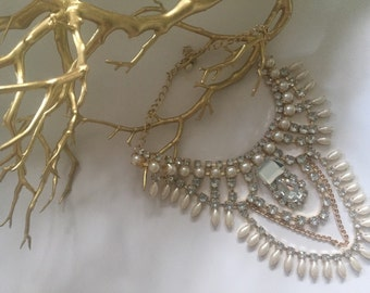 Gold/w Silver rhinestones and pearls statement necklace