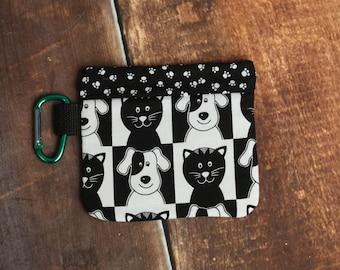 Leash Bag Dog Poop Bag Holder Poop Hider Scented Black and White Pet Print
