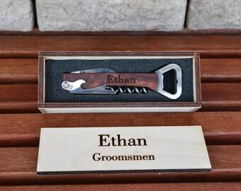 Personalized Wine Opener, Groomsmen Gift, Corkscrew, Bridesmaid Gifts