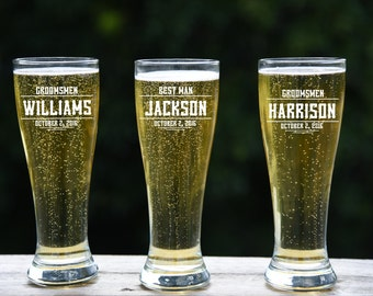 7 Groomsmen Pilsner Glasses, Personalized Beer Glass, Engraved Glasses, Pilsner , Wedding Party Gifts, Gifts for Groomsmen, 16oz Glasses