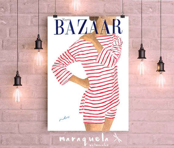 Harper's BAZAAR Cover 1951 Watercolor Handmade. Fashion Summer Vintage magazine summer. Art watercolor, red stripes, gift decor ideas woman