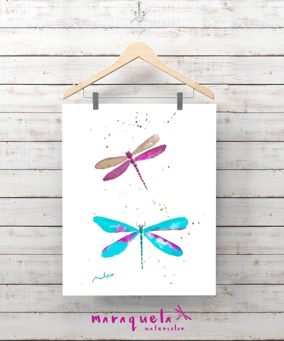 Pair of DRAGONFLY Illustration Watercolor - Art wall, original painting living- room, home decor, poster print child's room ideas gift baby