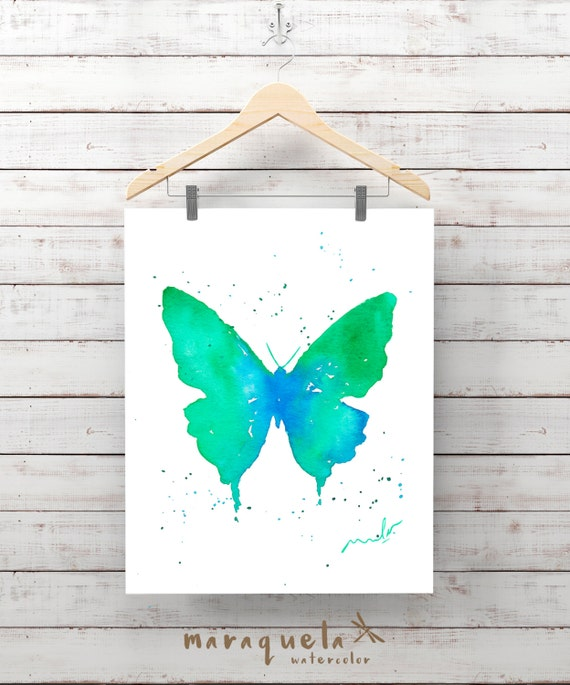 Green Blue BUTTERFLY Illustration Watercolor - Art , painting living- room, home decor, poster print wall room ideas gift baby, girl woman