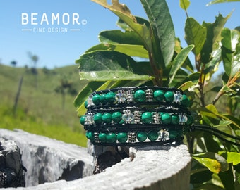 Malachite triple leather wrap