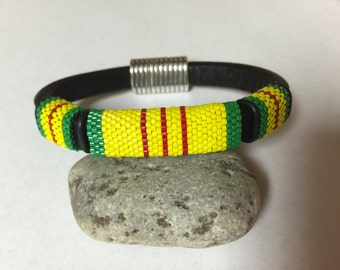 Peyote Beadwoven Vietnam Service Ribbon Licorice Leather Bracelet