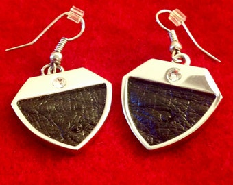 Black Earrings - Ostrich Leather and Swarovski Crystals