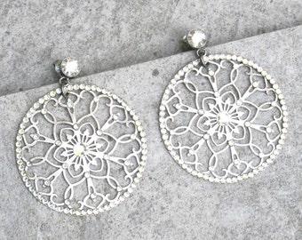 Bridal Earrings Swarovski Crystal Earrings Dangle Earrings  Filigree Earrings  Lace Earrings Silver Earrings