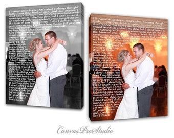 Black and White with color selections Canvas First Dance Lyrics/ Wedding Canvas Variation, Words Vows lyrics / Anniversary or Wedding Art