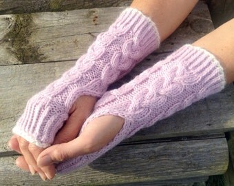 Ladies luxury pale pink pure alpaca cable mitten gloves by Willow Luxury ( one size)