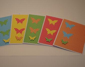 Birthday Card, Female Birthday Card, Girls Birthday Card, Polka Dot Birthday Card, Homemade Birthday Card, Butterfly Dot Birthday