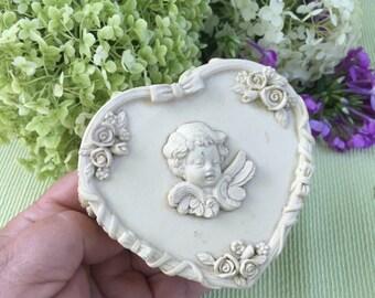 Pretty vintage cheeub porcelain trinket dish/ring box. Heart shaped. Engagement ring box. Wedding ring box.