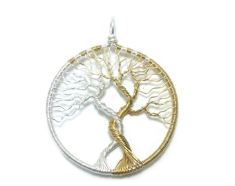 FREE SHIPPING Tolkien inspired wire wrap tree pendant, Trees of Valinor, Silmarillion, Laurelin and Telperion (large)