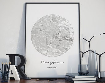 Houston map, Houston street, Houston art, Houston print, Texas map, Texas wall art, typography print, Black and white art, office décor