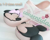 SALE! Mickey and Minnie kissing Jelly shoes for Toddler Girls  Nude Color