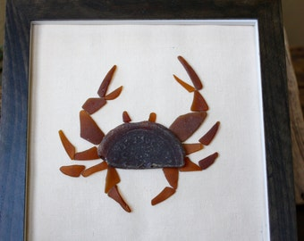 Sea Glass Art - Crab - Beach House - Beach - Beach Decor - Seaglass