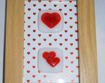 Fused Glass Valentine's Red Hearts of White in an Oak 10 x 15 cm wooden frame