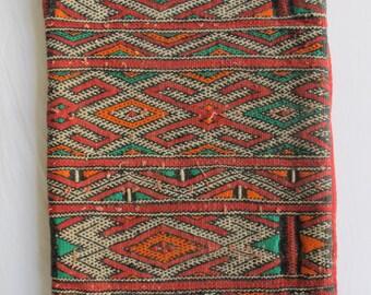 Orange and Red Moroccan berber kilim rug cushion