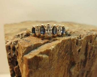 marquise diamond and sapphire ring 14k yellow gold