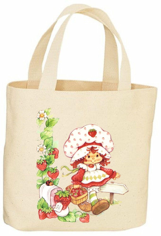 strawberry shortcake vintage style tote bag