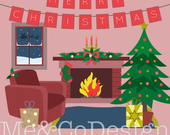 Cosy Christmas Clipart, Fun Cute Clipart, warm Instant Download, Personal and Commercial Use Clipart, Digital Clip Art