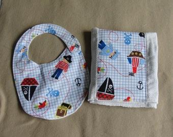 Pirate Bib and Burp Cloth Set