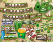 Minecraft Kit Birthday Party, Printable Set Personalized Deluxe Customizable Package Printables Decoration Bundle, Instant Digital Download