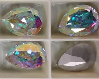 4320 Swarovski Austrian Crystal Aurora Borealis Tear Drop 15mmx11mm, 15x11 foil back tear drop crystal ab (6)