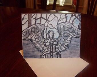 Gravestone Angel blank greeting cards