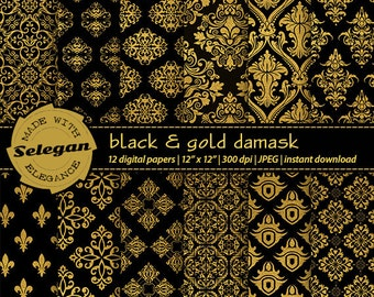 Black and Gold Damask digital scrapbook paper 12x12 royal printable black gold pattern european texture background