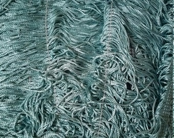 "Turquoise  10"" fringe fabric sold by the yard"